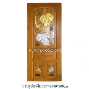 ประตูไม้สักแกะปลาเงินปลาทอง_002ประตูไม้สักแกะปลาเงินปลาทอง_002